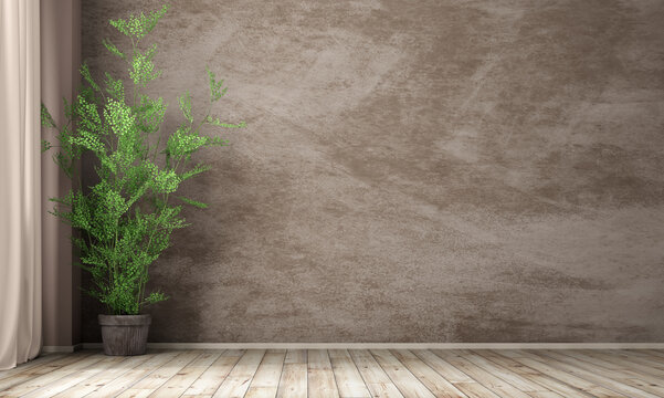 Interior background of room with stucco wall and pot with plant 3d rendering