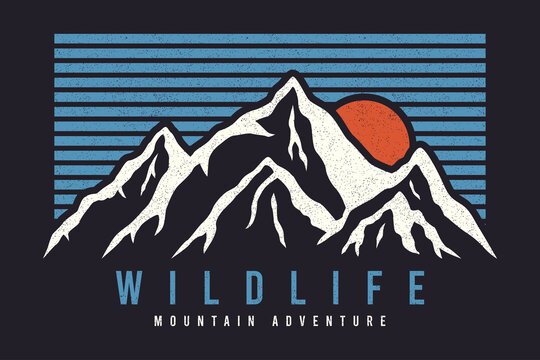 Mountain typography graphics for slogan tee shirt with sun and stripes. Mountain adventure print for apparel, t-shirt design with grunge. Wildlife slogan. Vector illustration.