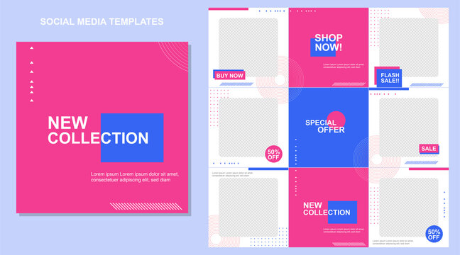 Social media post templates set for business with abstract vector illustration on background. Square posts layouts blue, fucsia, and white.