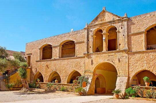 The gate of Arkadi Monastery, Crete, Greece