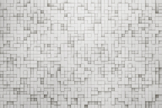 white abstract pixel square texture background 3d render