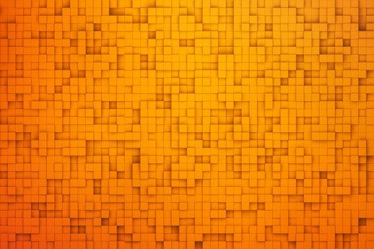 orange color abstract pixel square texture background 3d render