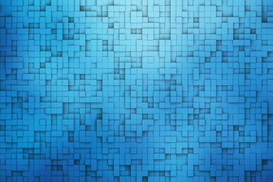 blue color abstract pixel square texture background 3d render