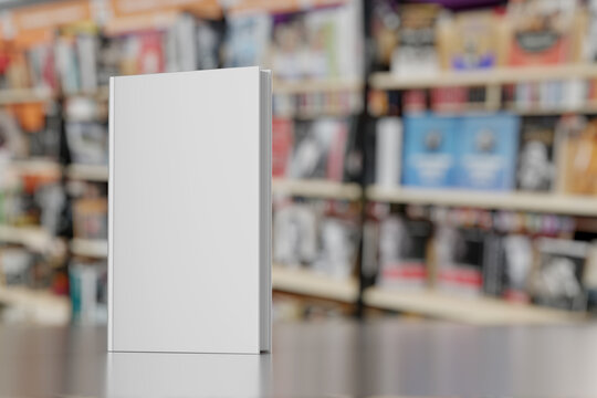 Blank gray hardcover book on bookstore showcase. 3D rendering illustration mock-up.