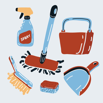 Vector illustration of cleaning kit icons on dark backround, dustpan, mop, brush, bucket, sponge, window cleaning spray