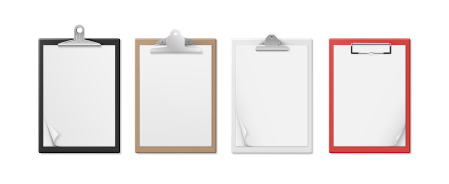 Realistic clipboards with blank white paper sheet. Notepad information board set
