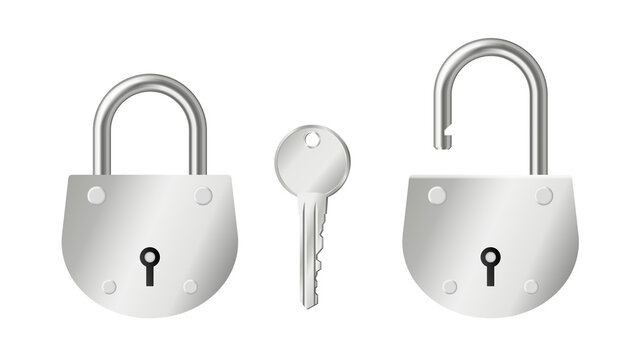 Set of realistic steel padlocks open and closed and silver key isolated on white background