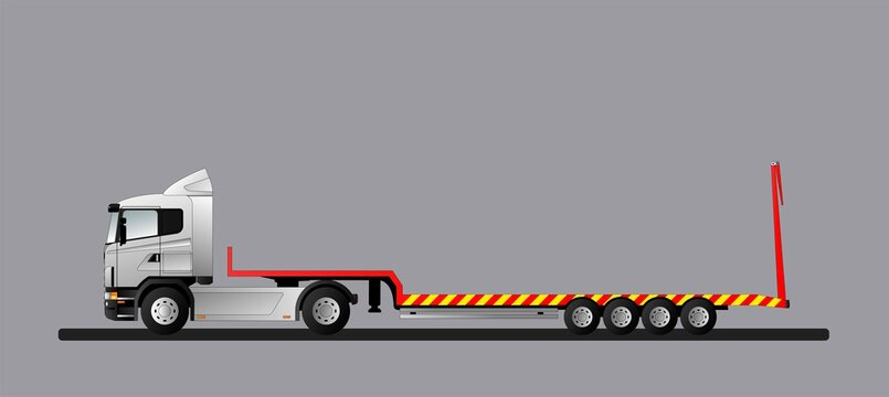 An image of a modern European truck with a low loader semi-trailer. Flat style line art illustration.