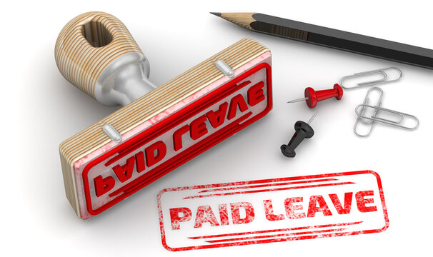 Paid leave. The stamp and an imprint. Wooden stamp and red imprint PAID LEAVE on white surface. 3D illustration