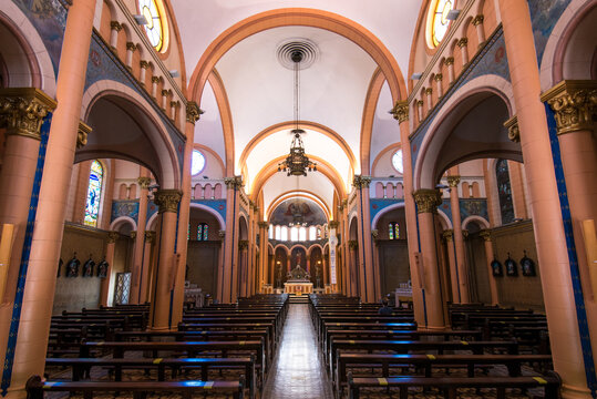 Rio de Janeiro, Brazil - January 30, 2021: Interior of the catholic church Our Lady of Peace in Ipanema district.