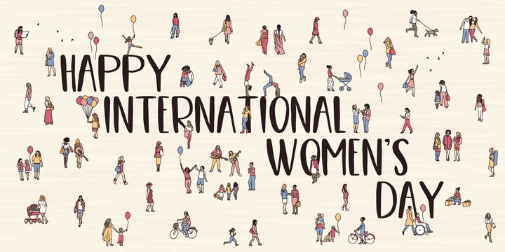Tiny hand drawn women walking through the street - Happy International Women's Day!