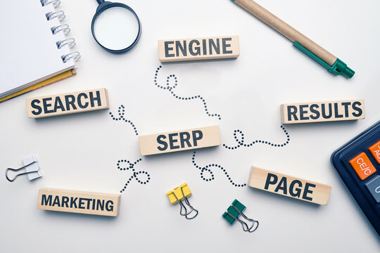 Marketing buzzword serp. Term Search engine results page on wooden blocks