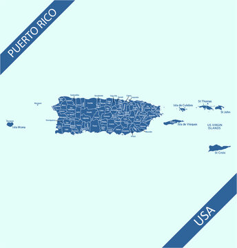 Puerto Rico county map vector outlines