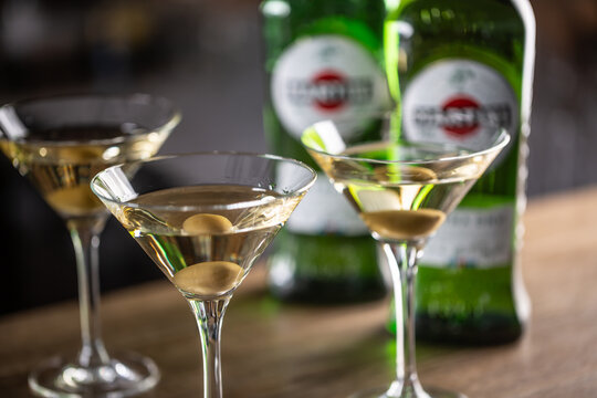 Dry Martini short drink cocktail with gin, dry vermouth and an olive garnish