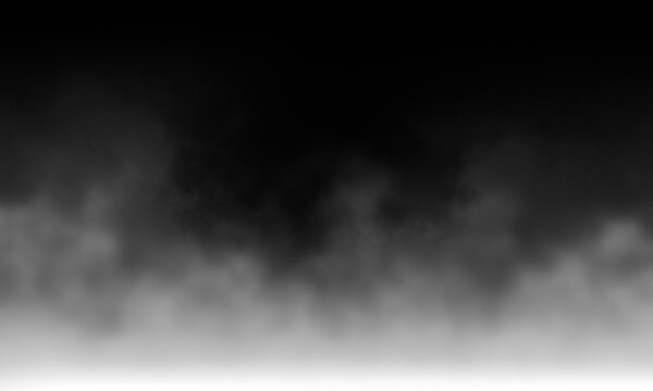 White gray smoke Isolated on black color dark horror background. Use for concept design Halloween Spooky night.