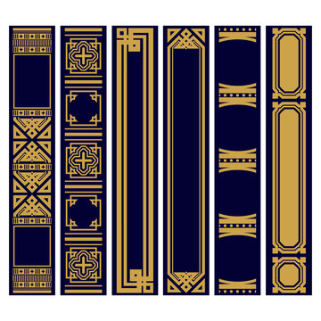 Set of Vertical ornaments for spines of books . Samples of roots of the book. Geometric vertical frames in the Art Deco style. Luxury gold and blue pattern.