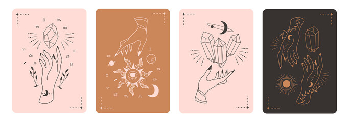 Obraz Set of mystical tarot cards. Elements of esoteric, occult, alchemical and witch symbols. Zodiac signs. Cards with esoteric symbols. Silhouette of hands,  stars, moon and crystals. Vector illustration - fototapety do salonu