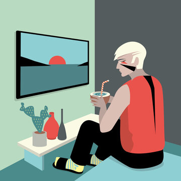Man with makeup is watching tv while drinking from a coconut