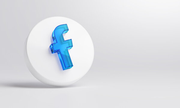Facebook Acrylic Glass Icon Account Promotion Template White Background 3D Rendering.