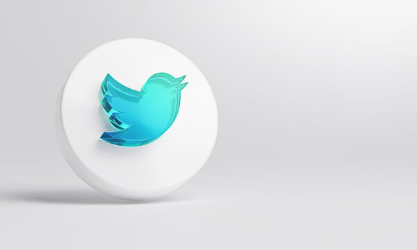 Twitter Acrylic Glass Icon Account Promotion Template White Background 3D Rendering.
