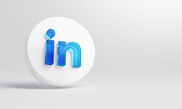 LinkedIn Acrylic Glass Icon Account Promotion Template White Background 3D Rendering.