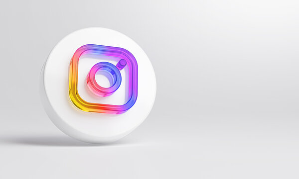 Instagram Acrylic Glass Icon Account Promotion Template White Background 3D Rendering.