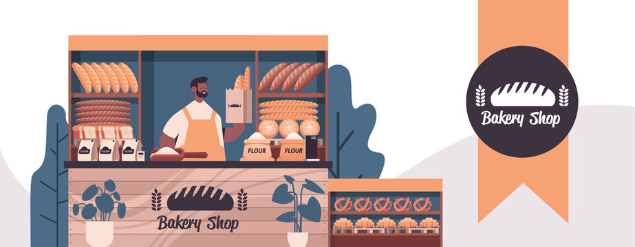 male baker holding bag with baguettes man in uniform selling fresh bakery products in baking shop portrait horizontal vector illustration