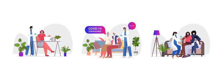 set mix race doctors in masks vaccinating patients to fight against coronavirus vaccine development medical immunization campaign concept full length horizontal vector illustration