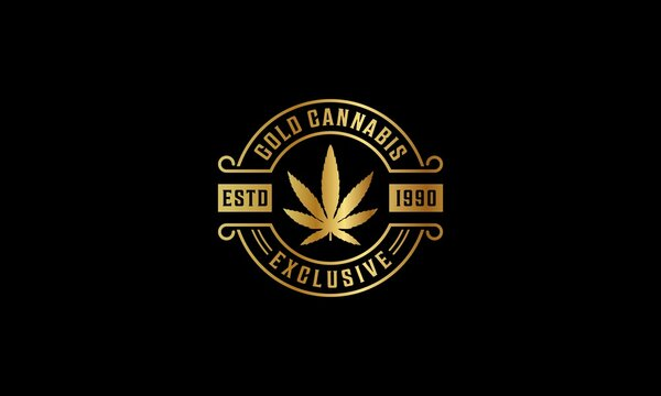 cannabis logo in gold color and black background