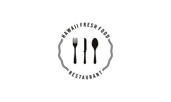 hawaiian restaurant logo with a wave symbol on the side depicting how beautiful the hawaiian beach waves are