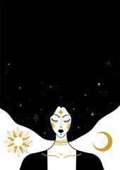 Mystical vector vintage illustration, face of a witch girl with black hair, card with copy space, space background with sun, moon and stars. Concept for meditation, tarot, witchcraft