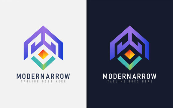 Abstract Colorful Futuristic Tech Arrow Logo. Usable for Business, Brand, Tech, Service Company. Vector Graphic Illustration.