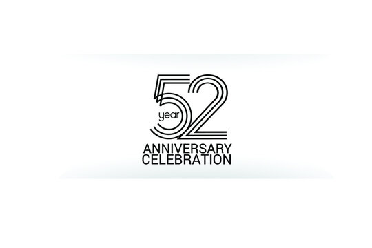 52 year anniversary celebration Black Line. logotype isolated on White background for celebration, invitation card, and greeting card-Vector
