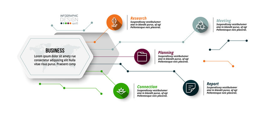Hexagon design describes the structure of work and reports the work process in a diagram format. infographic design.