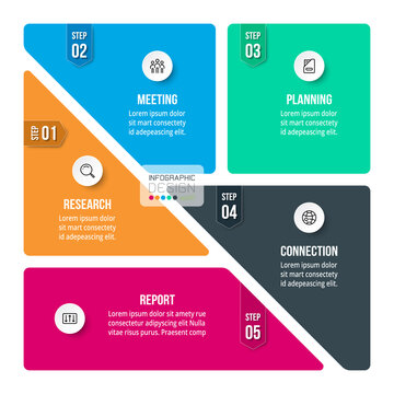 Segmentation 5 steps can be applied to presentations, functional division, making brochures or marketing, vector infographic design.