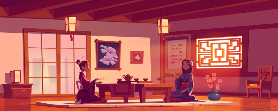 Tea ceremony in asian restaurant, women wear traditional kimono in Chinese or Japanese cafe sit at served low table on floor pillow, cafeteria interior with authentic decor cartoon vector illustration