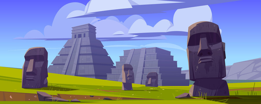 Moai statues and pyramids, republic of Chile travel famous landmarks stone heads on green field of Easter Island or Rapa Nui, symbol of South America archaeology monument cartoon vector illustration