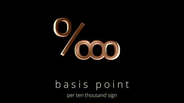 Per ten thousand symbol, illustration. Basis Point logo, poster. Simplicity and elegance in the icon in ocher tones and design effects. Equivalently one percent of one percent.