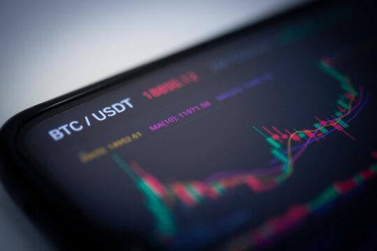 Bitcoin exchange scene on mobile phone