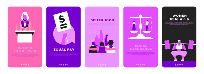 Feminist vertical banner template set for women rights or international social issues event on March 8. Pink flat illustration of girl friends together, woman athlete, equal pay sign and more.