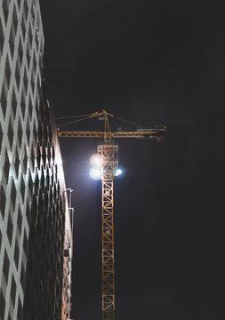 construction crane. night building construction