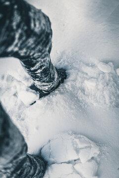 feet in the snow. heavy snow concept.