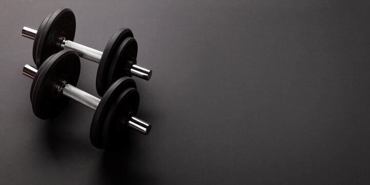 Dumbbells. Sport, fitness and healthy lifestyle