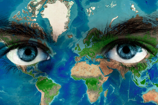 Earth continents painted on face skin, concept save the planet. Image of earth painted on face skin. Creative composition of eye and planet earth. Elements of this image furnished by NASA .