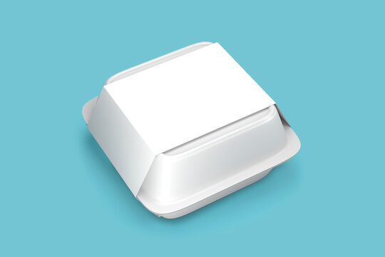 Disposable white food box container with white paper cover label pack isolated - blank mock up template food box container - 3d render