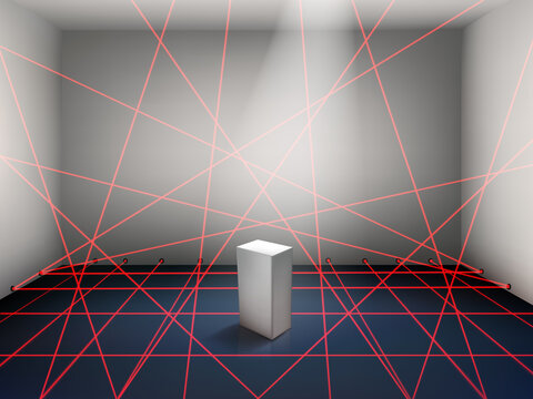 Museum laser beam security system realistic vector