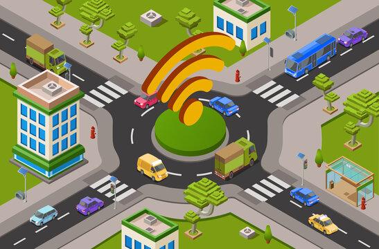 Smart city traffic and wifi on crossroad isometric 3D vector illustration of modern urban transport internet technology