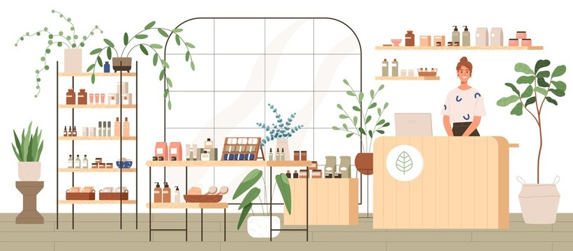 Interior of trendy cosmetics shop with organic natural products for skincare. Smiling seller behind counter in modern eco store with plants and wooden furniture. Colored flat vector illustration