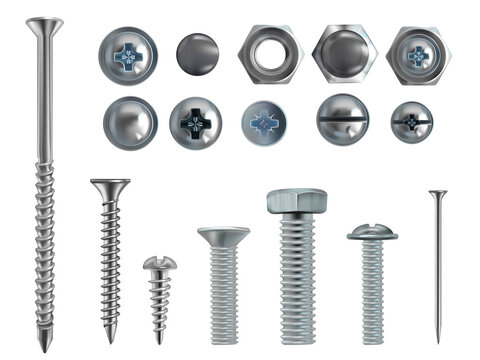 Vector 3d realistic steel bolts, nails, screws