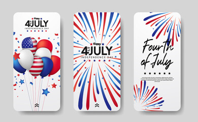 Fototapeta modern social media stories set of american independence day, 4th july of usa. group balloon and bursting colorful firework illustration obraz